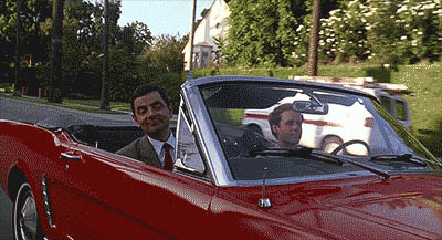 Mr. Bean in the red car animated GIF