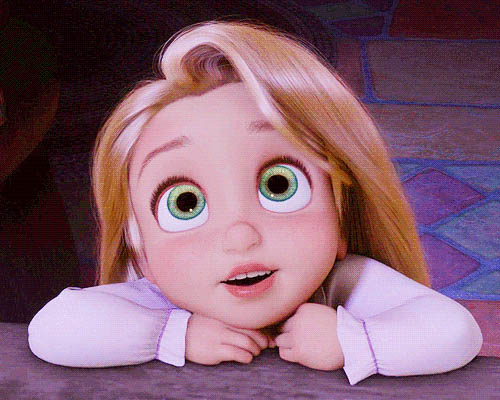 Young Rapunzel admires animated GIF