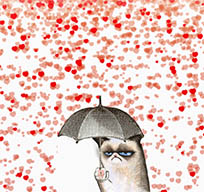 Grumpy cat hates love animated GIF