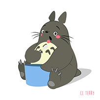 Totoro eating animated GIF