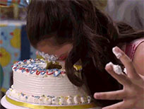 Face in birthday cake free GIF download