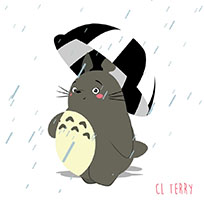 Totoro rain moving picture