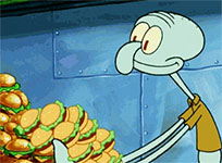 Squidward eats Krabby Patties animated GIF