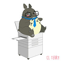 Totoro on the copier animated GIF