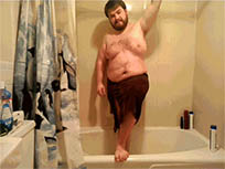 Red man falling in bathroom animated GIF