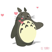 Totoro sends hearts moving picture