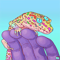 Phazed rainbow gecko animated GIF
