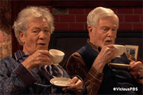 Ian McKellen and Derek Jacobi drinking coffee animated GIF