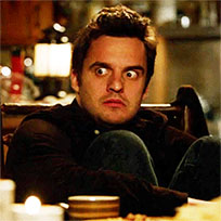 Nick Miller scared animated GIF