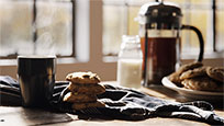 Hot coffee with cookies moving picture