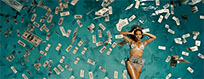 Beyonce swimming in money animated GIF