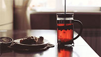 Cup of tea with piece of pie free GIF download