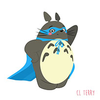 Totoro as superhero animated GIF