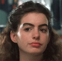 Anne Hathaway plays eyebrows moving picture