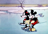 Mickey and Minnie ice skating moving picture