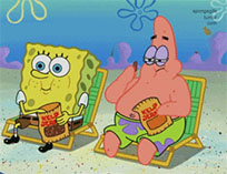 SpongeBob and Patrick eating popcorn animated GIF
