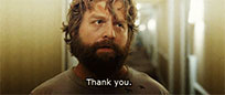 Zach Galifianakis Thank You animated GIF
