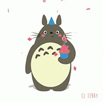 Totoro Birthday cake animated GIF