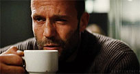 Jason Statham drinks coffee animated GIF