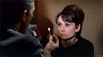 Audrey Hepburn looks at fire moving picture