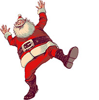 Happy Santa Claus dancing moving picture