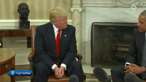 Trump and Obama shake hands animated GIF