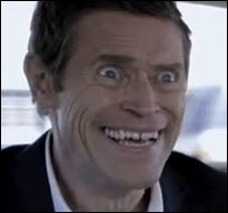 Willem Dafoe's creepy smile animated GIF