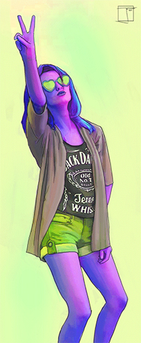 Colorful girl Phazed animated GIF