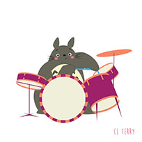 Totoro plays the drums animated GIF