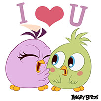 Angry birds I love you animated GIF