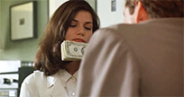Woman licking money moving picture