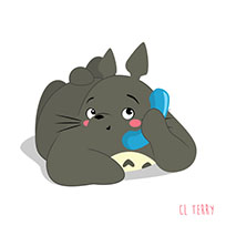 Totoro talking the phone animated GIF