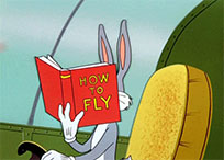 Bugs Bunny in a plane moving picture