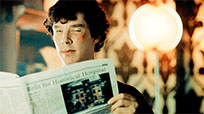 Sherlock reading newspaper animated GIF