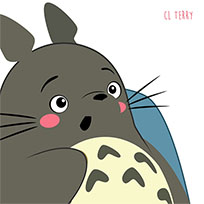 Totoro eats popcorn animated GIF