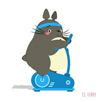 Totoro making fitness animated GIF