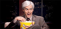 Bill Hader eating popcorn moving picture