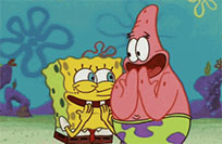 Patrick and SpongeBob laugh animated GIF
