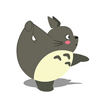 Totoro does gymnastics animated GIF