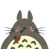 Totoro pipe smoker animated GIF