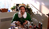 Funny elf eating spaghetti animated GIF