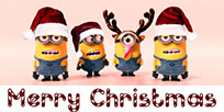 Merry Christmas Minions greeting free GIF download