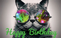 Cat glasses Happy Birthday free GIF download
