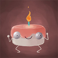 Happy Birthday jumping cake animated GIF