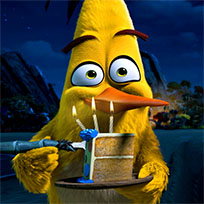 Chuck Angry Birds eating cake animated GIF