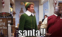 Elf Will Ferrell Santa animated GIF