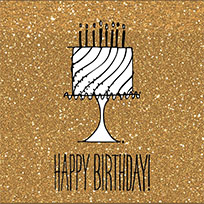 Happy Birthday cake on gold glitter moving picture